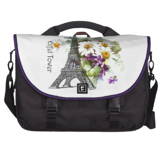 Eiffel Tower Violets Daisy Bag For Laptop