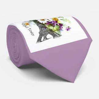 Eiffel Tower Violets Daisy Neck Tie
