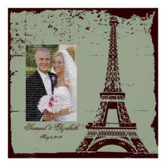 Eiffel Tower Wedding Framed Photo Collage Poster