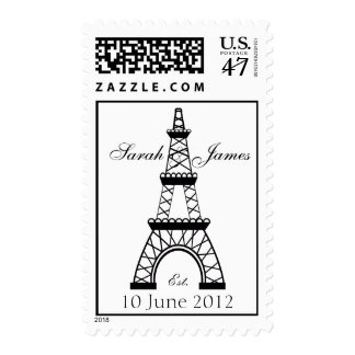 Eiffel Tower Wedding Names Date Postage Stamp