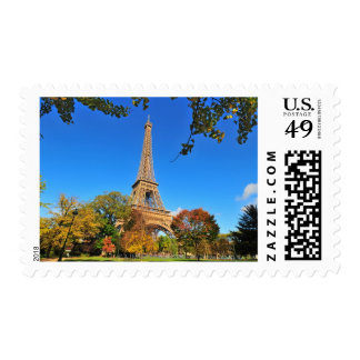 Eiffel Tower with autumn trees and leaves Postage