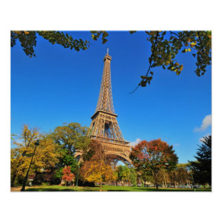 Eiffel Tower with autumn trees and leaves Print