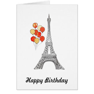 Eiffel Tower with bunch of balloons Birthday Card