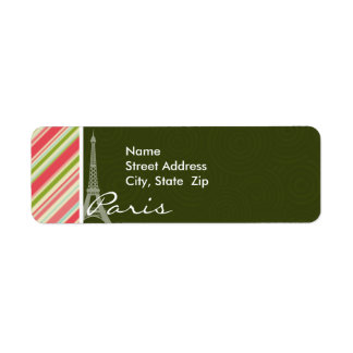 Eiffel Tower with Coral Green Stripes Return Address Label