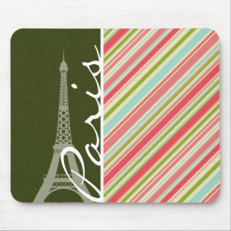 Eiffel Tower with Coral & Green Stripes Mouse Pad