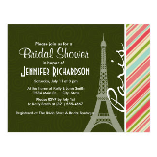 Eiffel Tower with Coral & Green Stripes Postcard