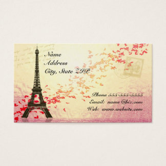 Eiffel Tower with floating hearts Business Card