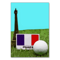 Eiffel tower with France flag and golf ball Table Number