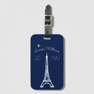 Eiffel Tower with name & initials travel Bag Tag