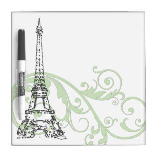 Eiffel Tower with Scrolls Dry-Erase Board