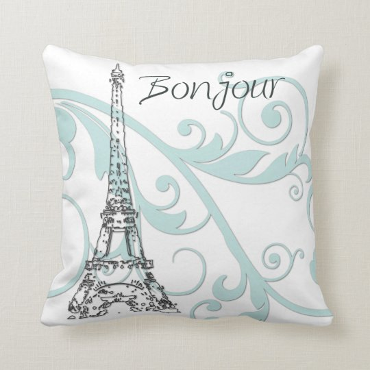 Eiffel Tower with Scrolls Throw Pillow