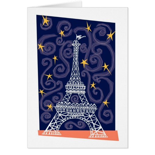 Eiffel Tower with Stars and Swirls Card