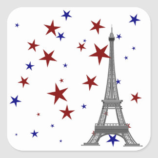 Eiffel Tower with Stars Square Sticker