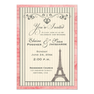 Eiffel tower with swirls and stripes card