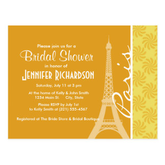 Eiffel Tower; Yellow Orange Paris Postcard