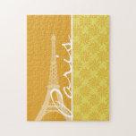 Eiffel Tower; Yellow Orange Paris Puzzles
