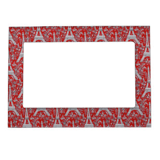 Eiffel Towers and Flowers Red Magnetic Frame