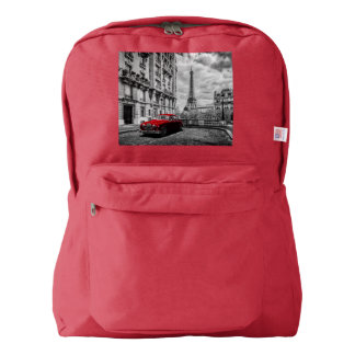Eiffle Tower Black, White and Red. American Apparel™ Backpack