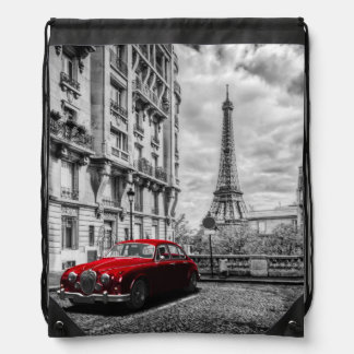 Eiffle Tower Black, White and Red. Drawstring Bag