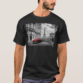 Eiffle Tower Black, White and Red. T-Shirt