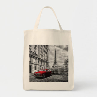 Eiffle Tower Black, White and Red. Tote Bag