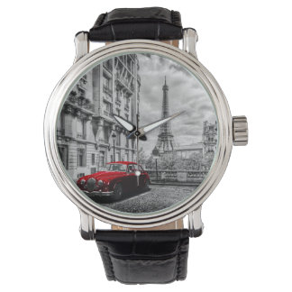 Eiffle Tower Black, White and Red. Wristwatch