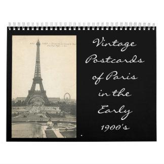 eiffle tower, VintagePostcardsof Paris in theEa... Wall Calendar