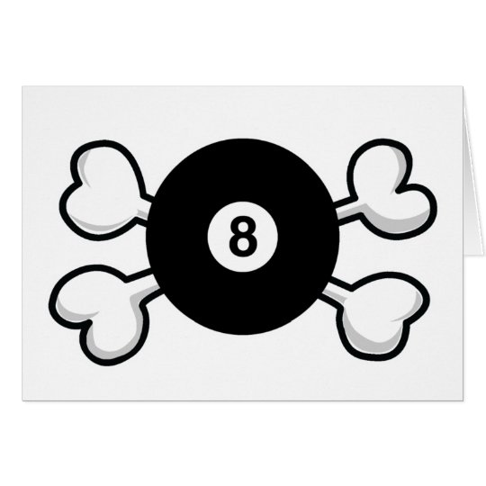 eight 8 ball Skull and Crossbones Card