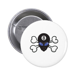 eight ball alien Skull and Crossbones 2 Inch Round Button