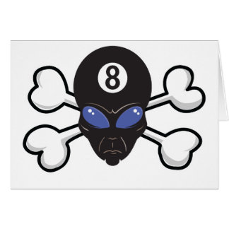 eight ball alien Skull and Crossbones Greeting Card
