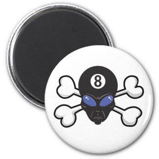 eight ball alien Skull and Crossbones 2 Inch Round Magnet