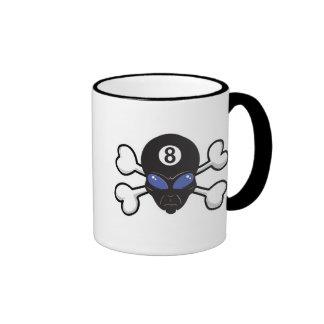 eight ball alien Skull and Crossbones Ringer Coffee Mug
