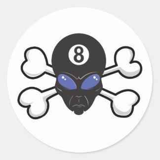 eight ball alien Skull and Crossbones Classic Round Sticker