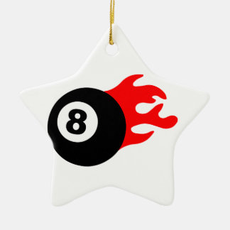 Eight Ball and Flames Ceramic Ornament