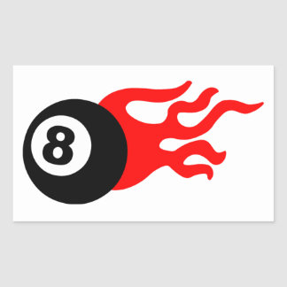 Eight Ball and Flames Rectangular Sticker