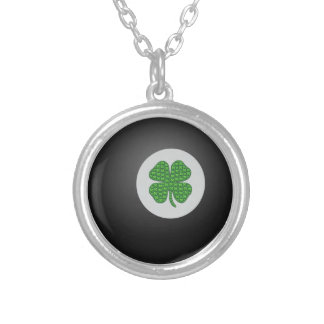 Eight ball bearing an emoji shamrock for good luck round pendant necklace