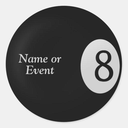 Eight Ball - Billiard Ball Name Stickers