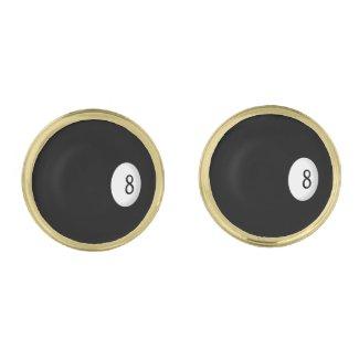 Eight Ball Billiard Theme Gold Finish Cuff Links