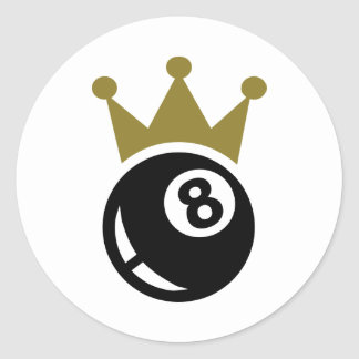 Eight ball billiards crown classic round sticker