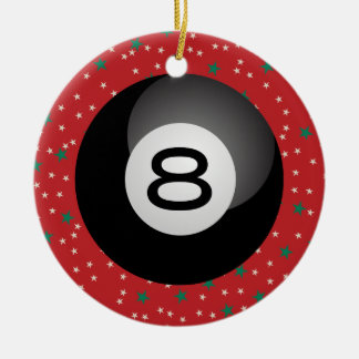 Eight Ball Ceramic Ornament
