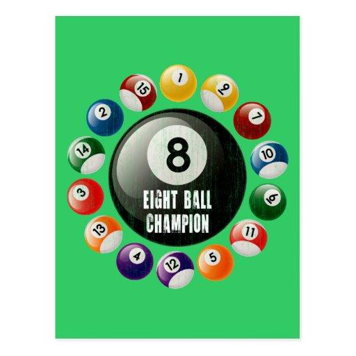 EIGHT BALL CHAMPION POSTCARD