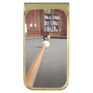 Eight Ball Corner Pocket Gold Finish Money Clip