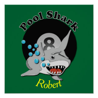 Eight Ball Named Pool Shark Poster