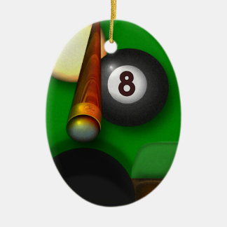 Eight Ball Pool and Billiards Personalized Ceramic Ornament