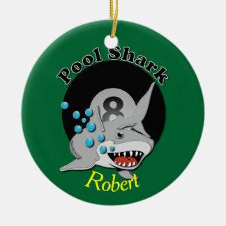 Eight Ball Pool Shark Dedication Ceramic Ornament