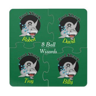 Eight Ball Pool Shark Puzzle Coaster