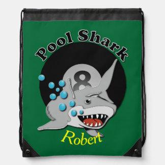 Eight Ball Pool Shark Drawstring Bag