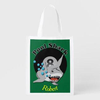 Eight Ball Pool Shark Reusable Grocery Bag