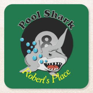 Eight Ball Pool Shark Square Paper Coaster