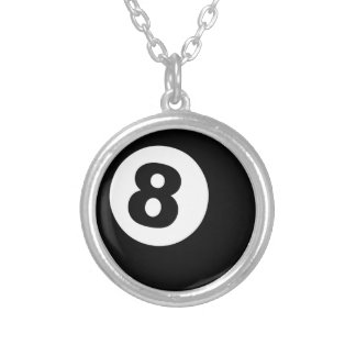 Eight Ball Silver Plated Necklace